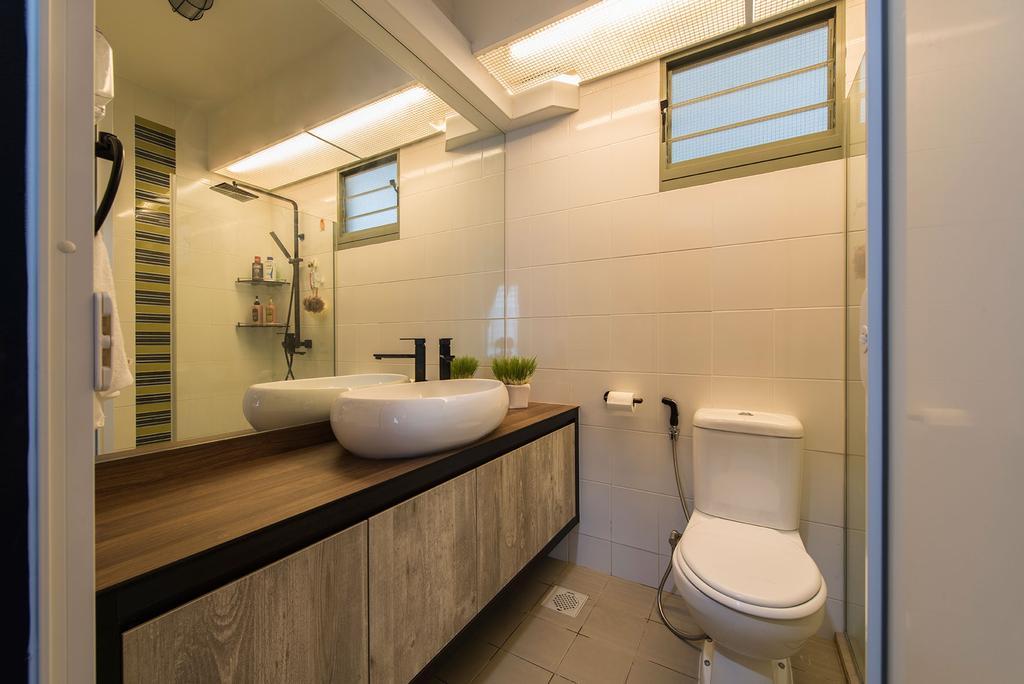 Industrial, HDB, Waterway Brooks, Interior Designer, Posh Living Interior Design, Bathroom, Black Faucet, Mirror, Bathroom Tiles, Storage, Wooden Cabinet, Bathroom Sink, Toilet