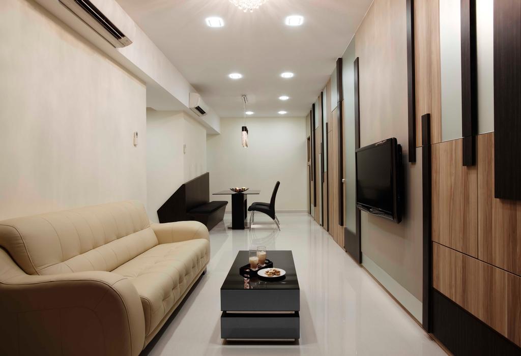 Traditional, Condo, Living Room, Atrium Residences, Interior Designer, The Design Practice, Sofa, Tile, Spotlight, Tv Console, Coffee Table, White, Neutral Tones, Monochrome, Couch, Furniture, Indoors, Interior Design