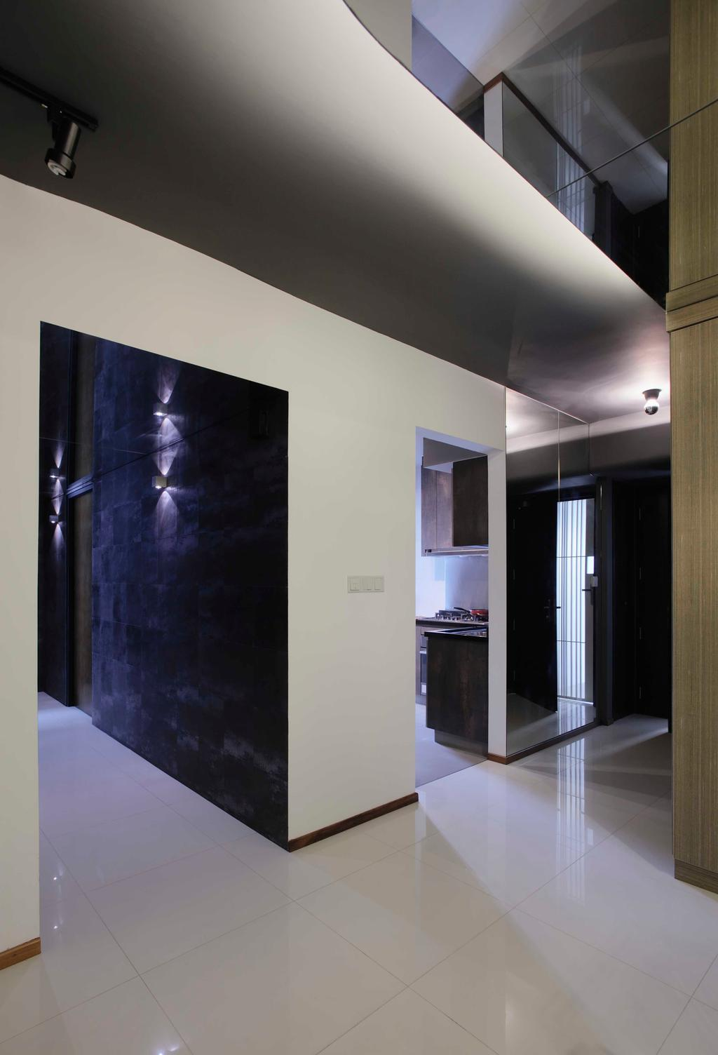 Modern, HDB, The Pinnacle@Duxton, Interior Designer, The Design Practice, Corridoor, Tiles, Monochrome, Beam
