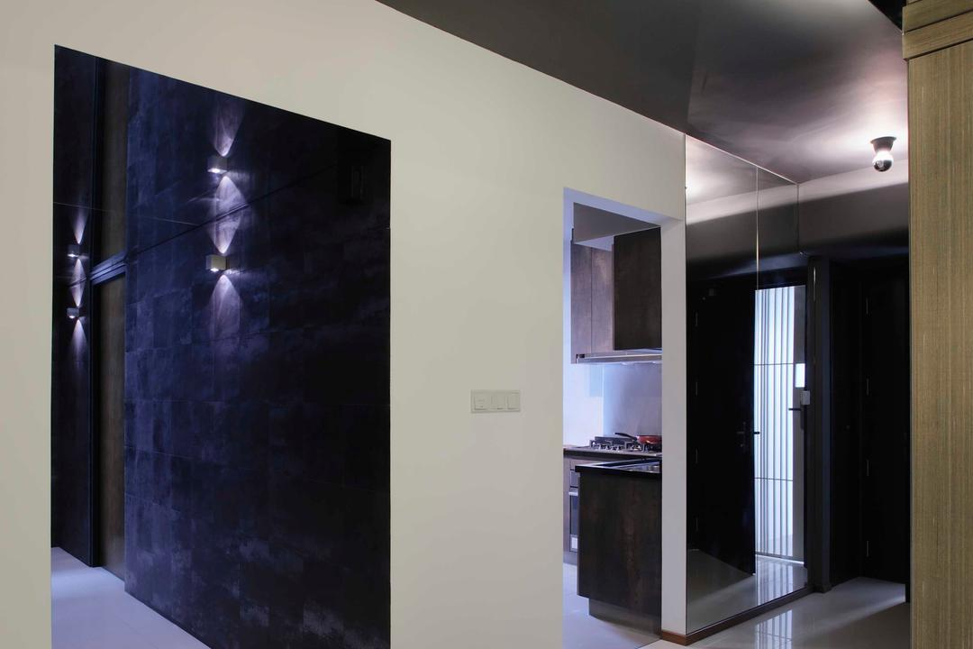 The Pinnacle@Duxton, The Design Practice, Modern, HDB, Corridoor, Tiles, Monochrome, Beam