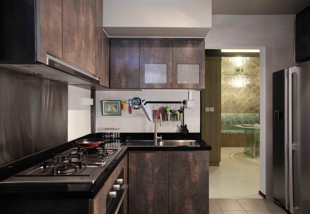 Modern, HDB, Kitchen, The Pinnacle@Duxton, Interior Designer, The Design Practice, Wood, Laminate, Wood Laminate, Counter, Brown, Woody, Appliance, Electrical Device, Oven, Indoors, Interior Design, Room
