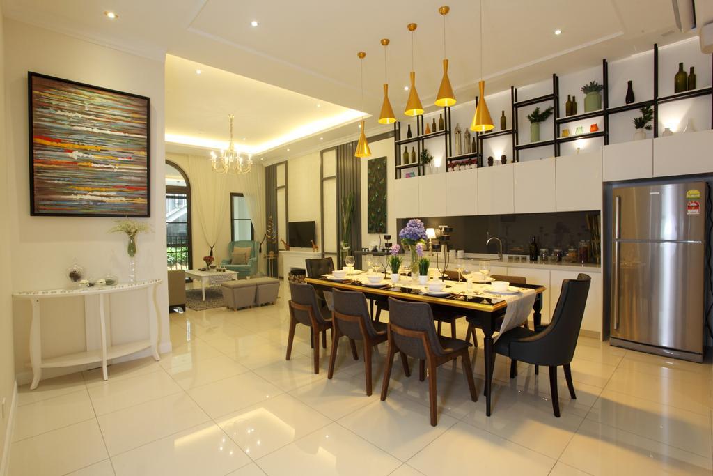 Contemporary, Landed, Dining Room, Isle Of Kamares Setia Eco Glades, Cyberjaya, Interior Designer, Nice Style Refurbishment, Dining Table, Furniture, Table, Indoors, Interior Design, Room