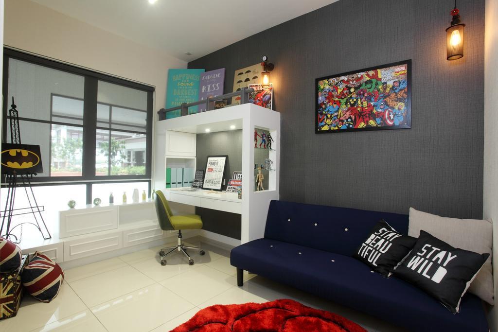 Contemporary, Landed, Study, Isle Of Kamares Setia Eco Glades, Cyberjaya, Interior Designer, Nice Style Refurbishment, Indoors, Office, Room