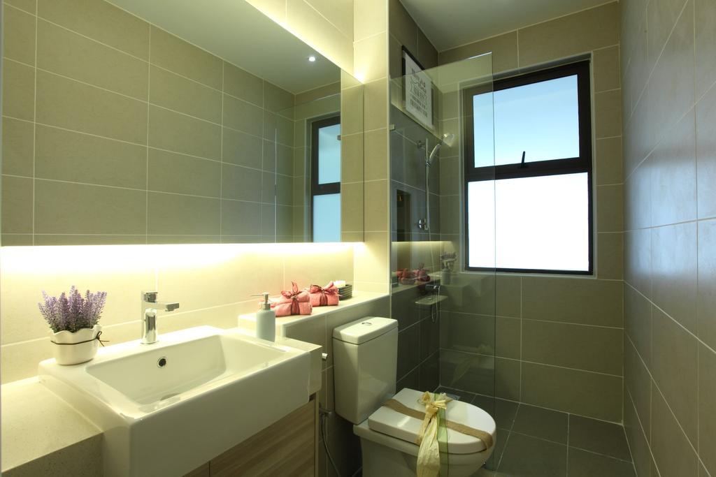 Contemporary, Landed, Bathroom, Isle Of Kamares Setia Eco Glades, Cyberjaya, Interior Designer, Nice Style Refurbishment, Toilet, Projection Screen, Screen, Indoors, Interior Design, Room