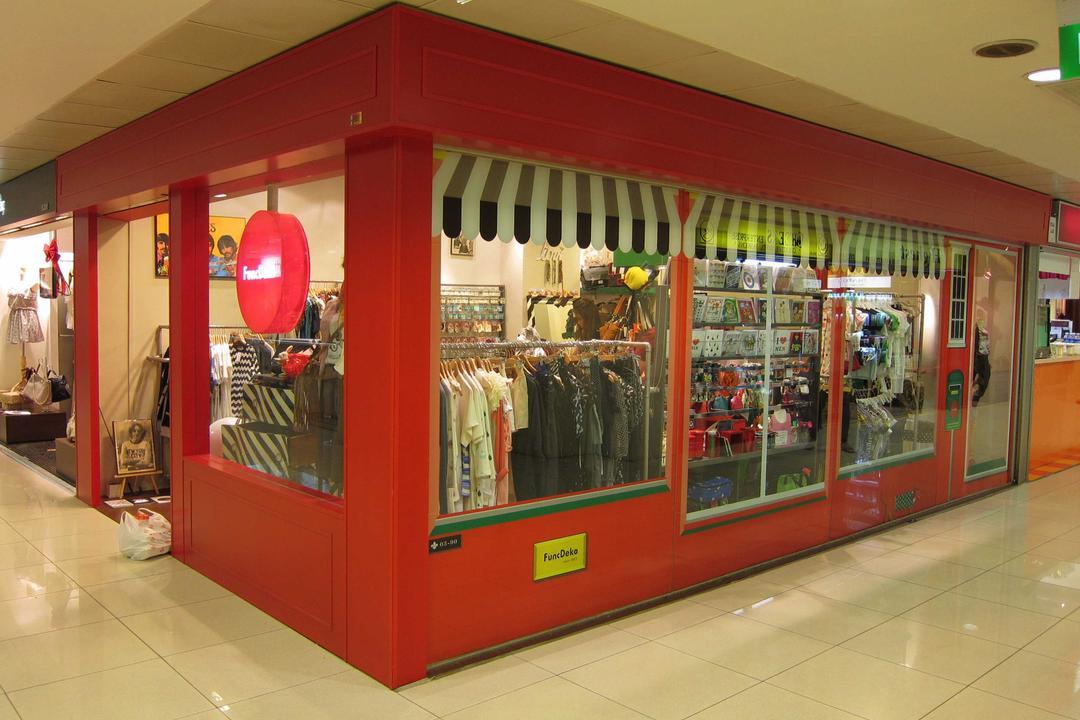 Func Deko, The Design Practice, Modern, Commercial, Shop Exterior, Exterior, Shop Entrance, Shop Front, Exit, Entrance, Red, Kiosk