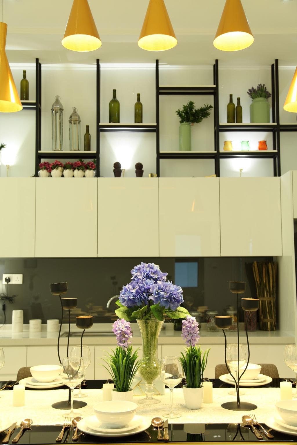 Contemporary, Landed, Living Room, Isle Of Kamares Setia Eco Glades, Cyberjaya, Interior Designer, Nice Style Refurbishment, Glass, Shelf, Blossom, Flora, Flower, Flower Arrangement, Ornament, Plant