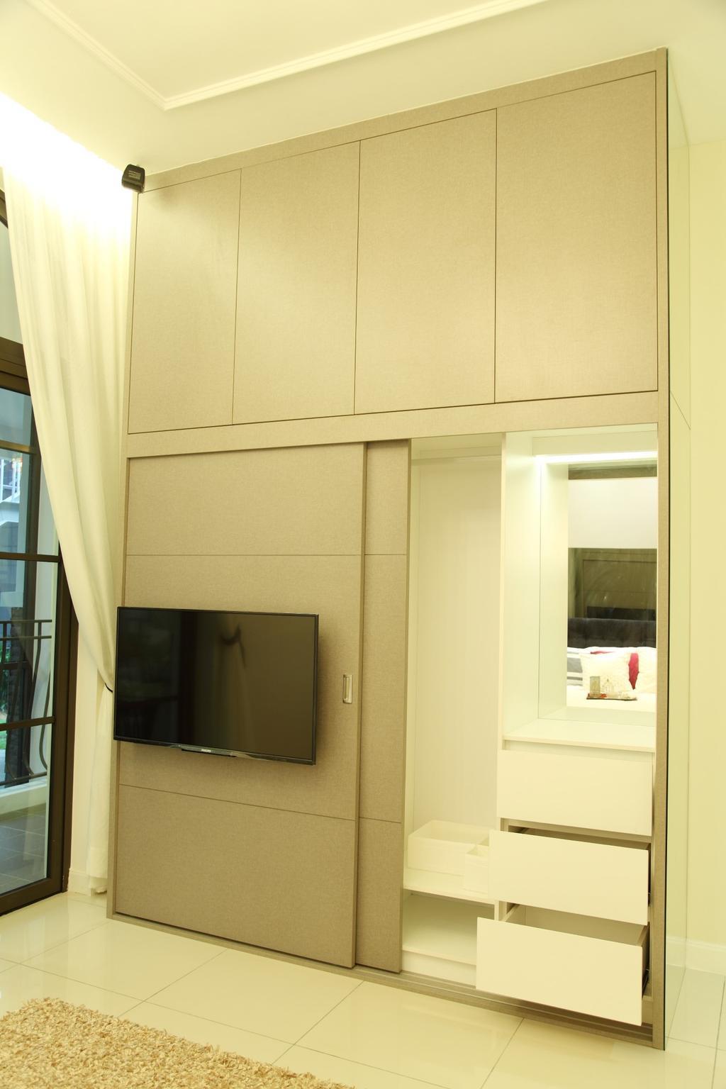 Contemporary, Landed, Bedroom, Isle Of Kamares Setia Eco Glades, Cyberjaya, Interior Designer, Nice Style Refurbishment, Curtain, Home Decor