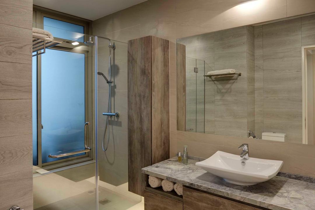 Glentrees, The Design Practice, Traditional, Bathroom, Condo, Glass, Glass Door, Shower, Cubicle, Wash Basin, Spotlight, Tiles, Grey, Neutral, Monotone, Indoors, Interior Design, Room, Sink