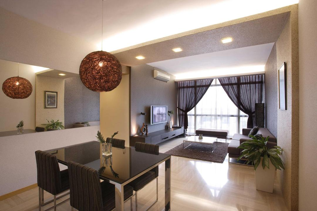 Hillview Regency, The Design Practice, Traditional, Living Room, Condo, Dining Table, Round Lamp, False Beam, Spotlight, Concealed Lighting, Curtains, Mirror, Rug, Carpet, Tv Console, Flora, Jar, Plant, Potted Plant, Pottery, Vase, Couch, Furniture, Dining Room, Indoors, Interior Design, Room
