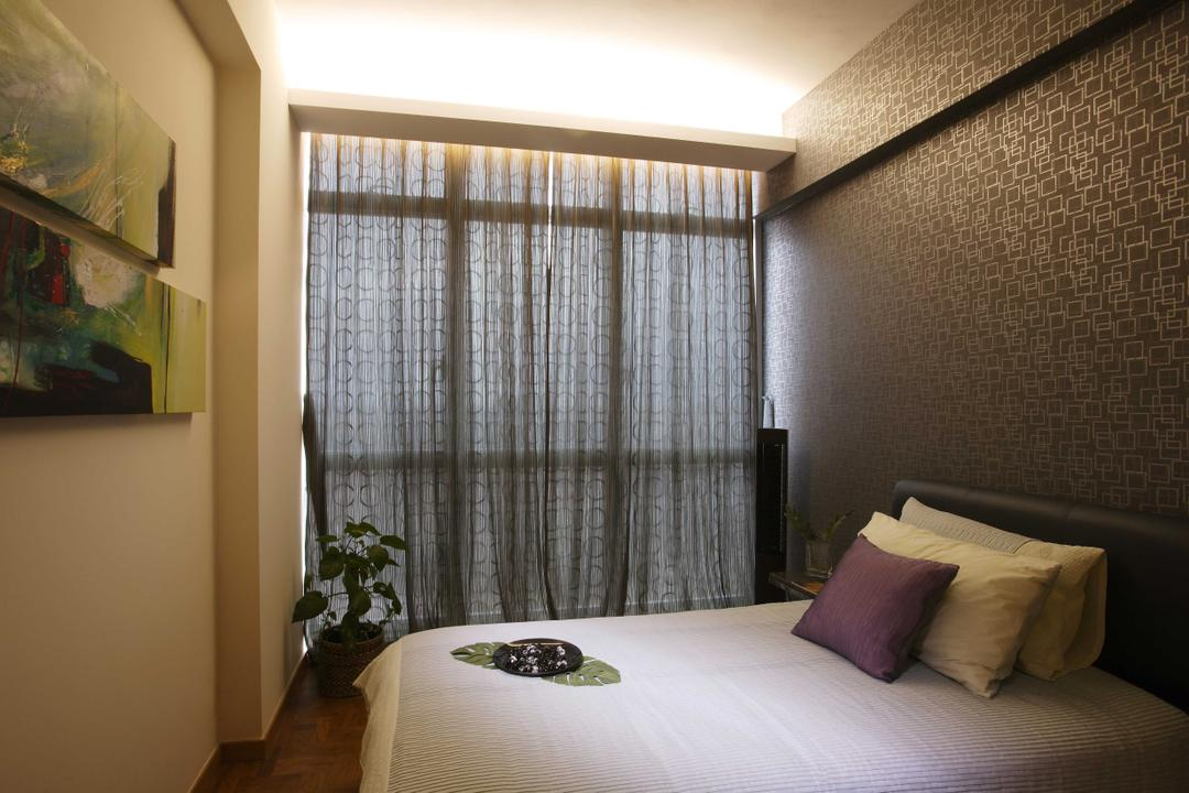 Hillview Regency, The Design Practice, Traditional, Bedroom, Condo, Curtain, Neutral Tone, Grey, Brocade, Wallpaper, Concealed Lighting, Flora, Jar, Plant, Potted Plant, Pottery, Vase, Home Decor, Linen, Tablecloth, Indoors, Interior Design, Room, Art