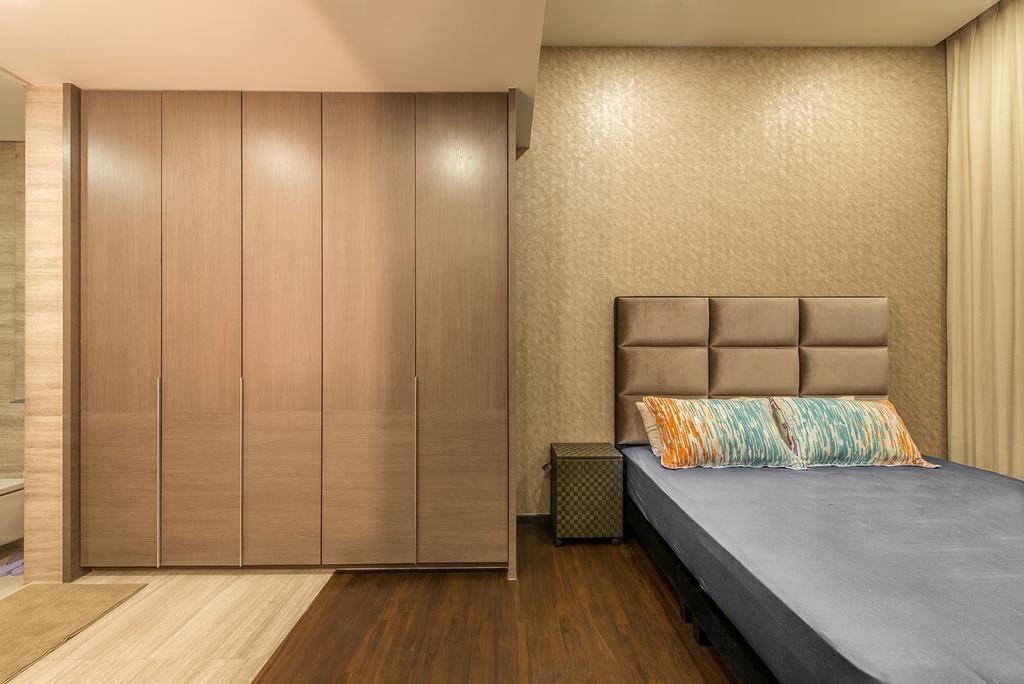 Contemporary, Condo, Bedroom, Seletar Road (Block 21), Interior Designer, Omni Design, Wooden Floor, Wooden Wodrobe, Cushioned Panels, Spacious, Cozy, Dull Blue Bed, Rainbow Pillow
