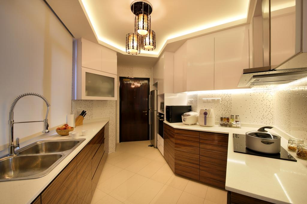 Contemporary, Condo, Kitchen, Parc Oasis, Interior Designer, Urban Design House, Hanging Lights, Wall Mounted Cupboards, Wooden Kitchen Cupboard, Hidden Interior Lighting