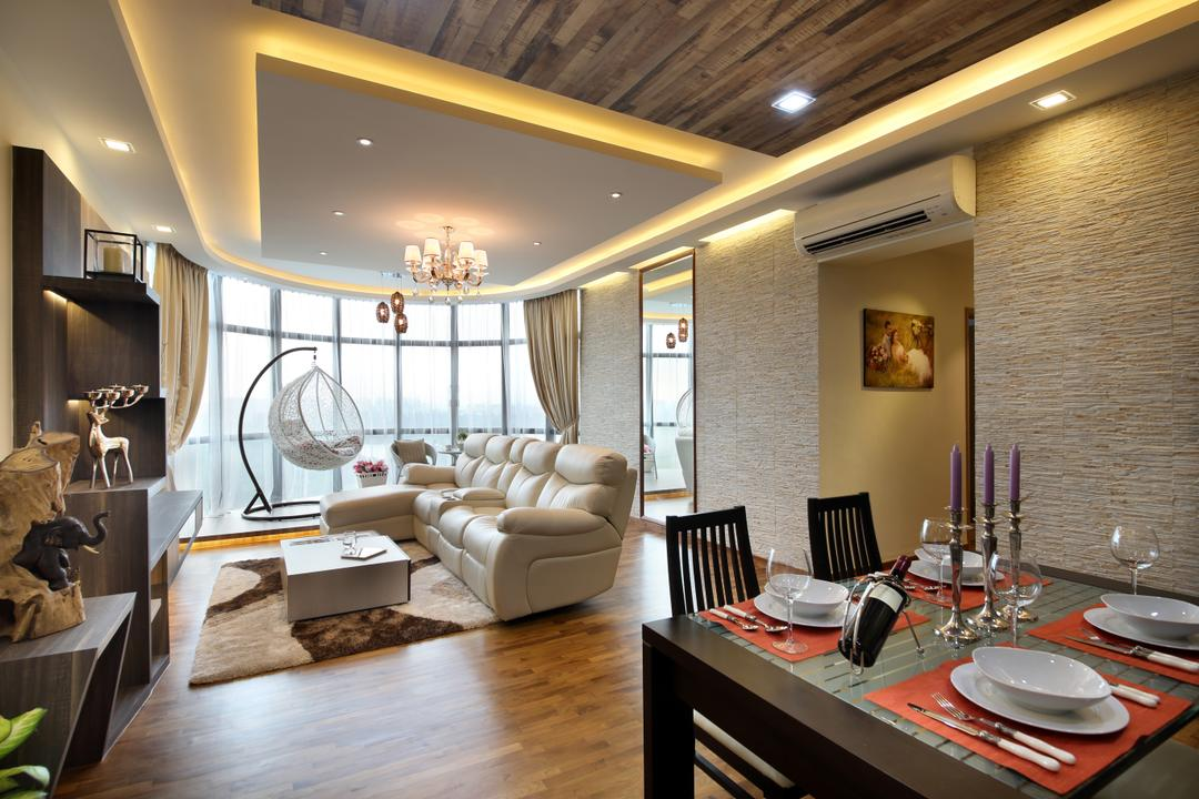 Parc Oasis, Urban Design House, Contemporary, Living Room, Condo, Wooden Floor, Air Condition, Sofa, Dining Chair, Dining Table, Chandelier, Carpet, Wall Mounted Shelf, , Recessed Lights, Wooden Ceiling, Airy, Cozy, Cosy, Spacious, Classy, Modern, Hanging Mammock Chair