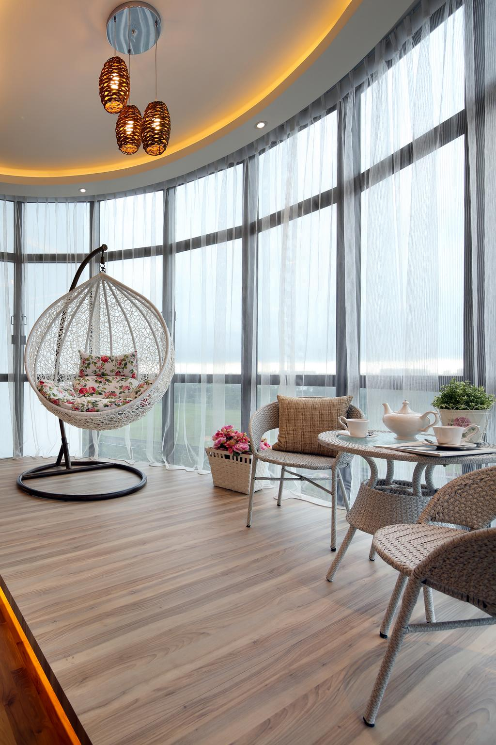 Contemporary, Condo, Living Room, Parc Oasis, Interior Designer, Urban Design House, Wooden Floor, Hanging Lights, Lounge Chair, Mini Circular Table, Hanging Rattan Chair, Glass Panels, Classy, Modern