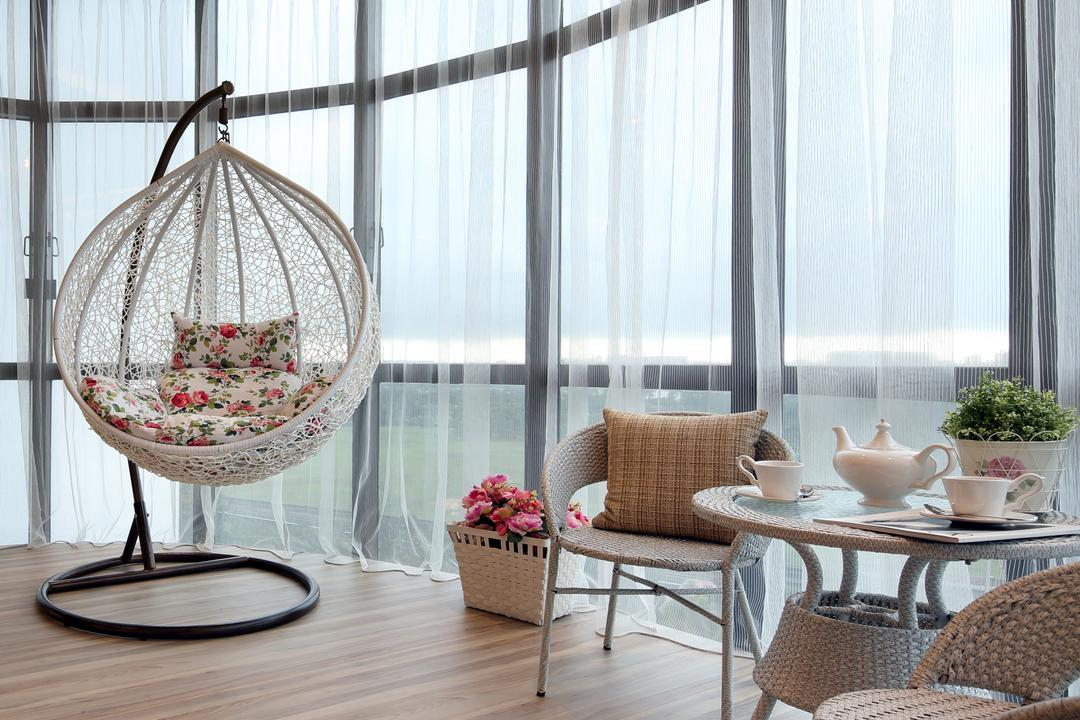 Parc Oasis, Urban Design House, Contemporary, Living Room, Condo, Wooden Floor, Hanging Lights, Lounge Chair, Mini Circular Table, Hanging Rattan Chair, Glass Panels, Classy, Modern