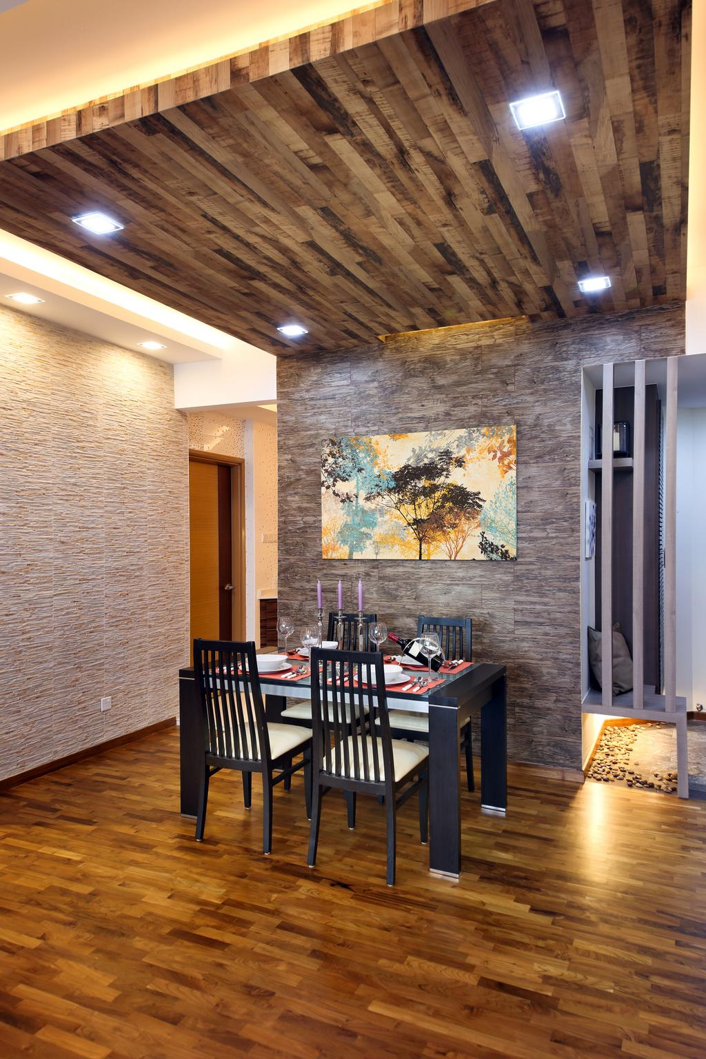 Contemporary, Condo, Dining Room, Parc Oasis, Interior Designer, Urban Design House, Wooden Floor, Wooden Ceiling, Recessed Lights, Dining Chair, Dining Table, Picture Frame, Mini Dining Area