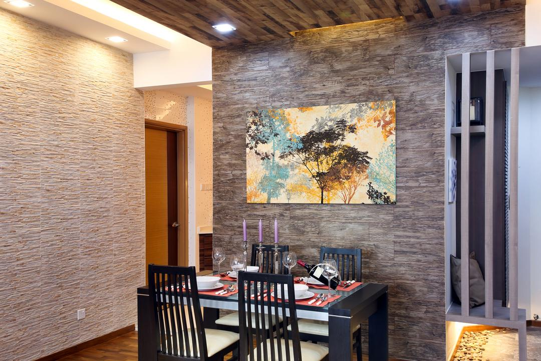 Parc Oasis, Urban Design House, Contemporary, Dining Room, Condo, Wooden Floor, Wooden Ceiling, Recessed Lights, Dining Chair, Dining Table, Picture Frame, Mini Dining Area