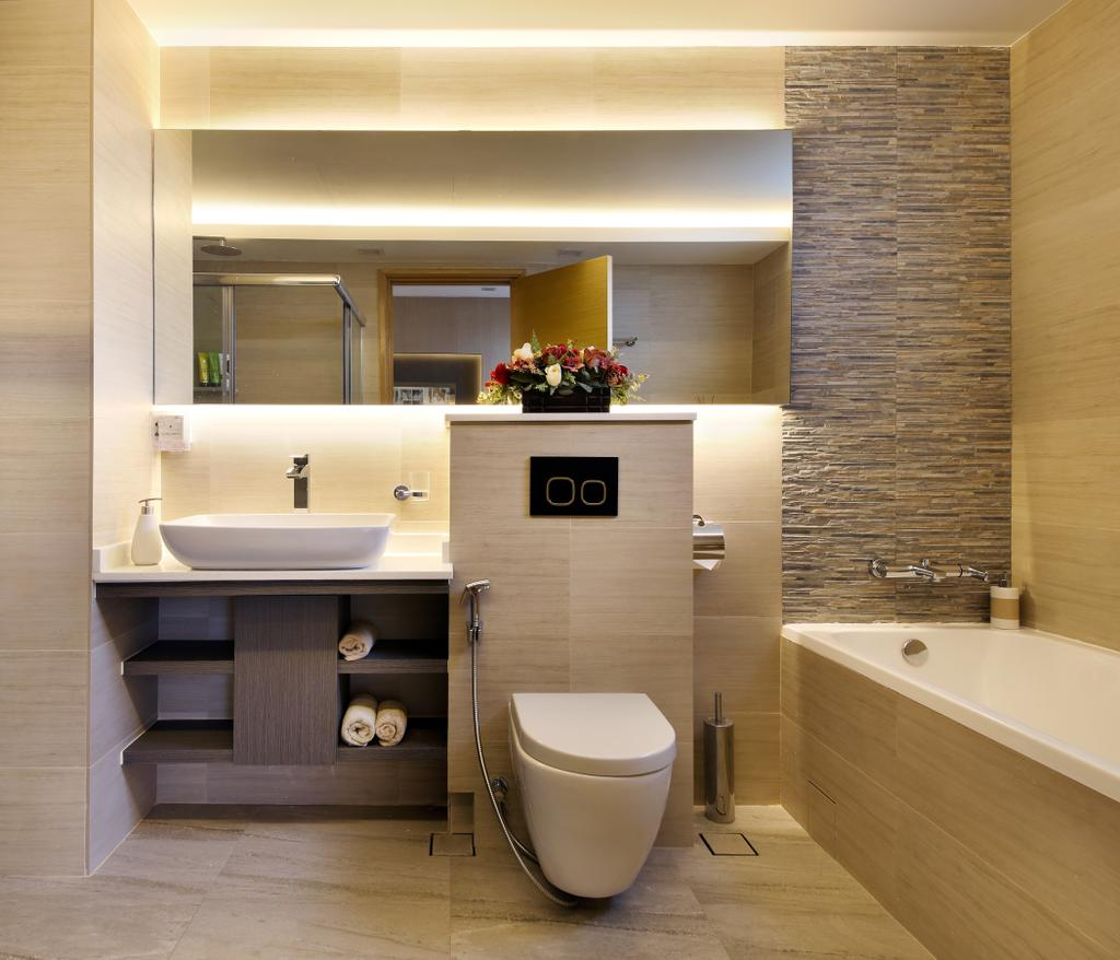 Contemporary, Condo, Bathroom, Parc Oasis, Interior Designer, Urban Design House, Mirror, Toilet, Bath Tub, Marble Panel, Sink, Resort Theme