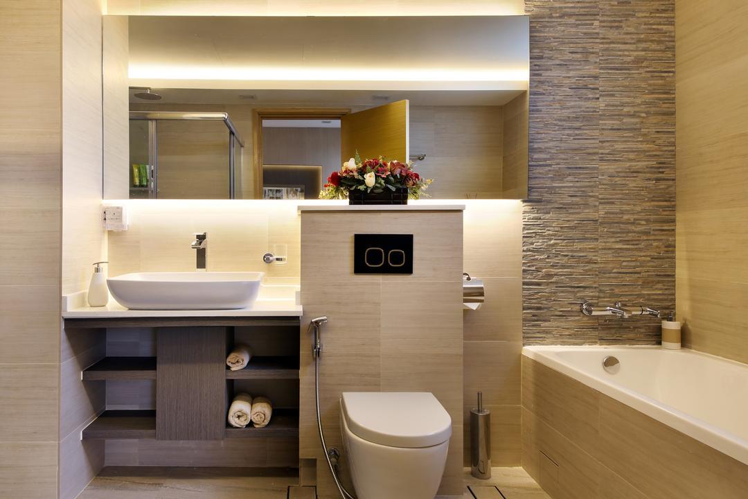 Parc Oasis, Urban Design House, Contemporary, Bathroom, Condo, Mirror, Toilet, Bath Tub, Marble Panel, Sink, Resort Theme
