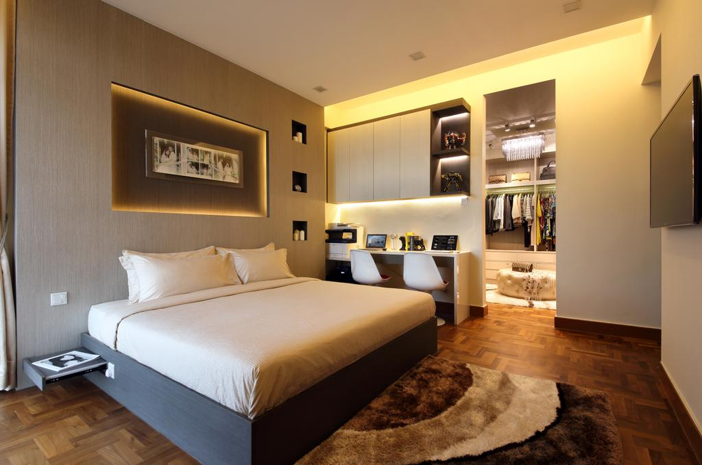 Contemporary, Condo, Bedroom, Parc Oasis, Interior Designer, Urban Design House, King Size Bed, Picture Frame, Lounge Table, Chair, Wall Mounted Television, Wooden Floor, Wall Mounted Cupboard, Cozy, Cosy, Spacious, Resort Theme