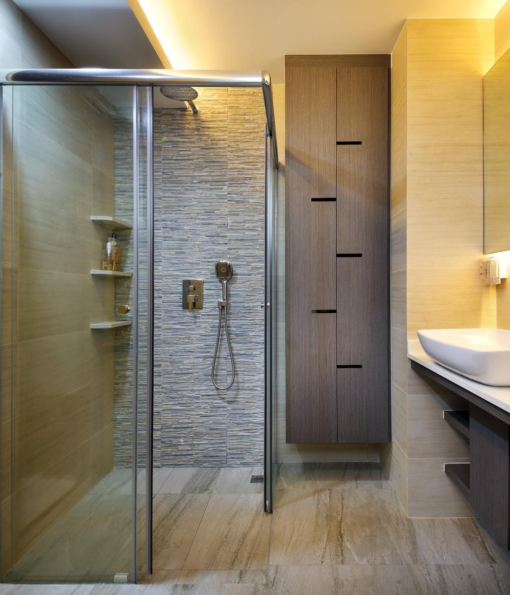 Contemporary, Condo, Bathroom, Parc Oasis, Interior Designer, Urban Design House, Grey Wooden Floor, Marble Wall, Wooden Wadrobe, Sink, Wooden Floor, Resort Theme, Sliding Glass Shower Door