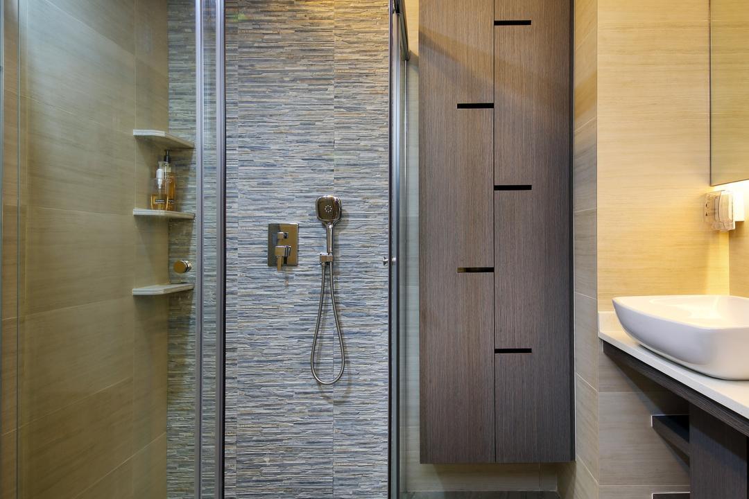 Parc Oasis, Urban Design House, Contemporary, Bathroom, Condo, Grey Wooden Floor, Marble Wall, Wooden Wadrobe, Sink, Wooden Floor, Resort Theme, Sliding Glass Shower Door