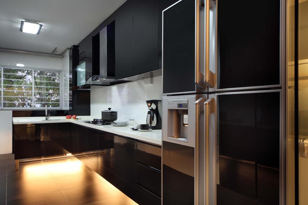 Bedok Reservoir Road (Block 147), Urban Design House, Modern, Kitchen, HDB, Black Marble, , Kitchen Cupboard, Refrigerator, Wall Mounted Kitchen Cupboard, Recessed Light