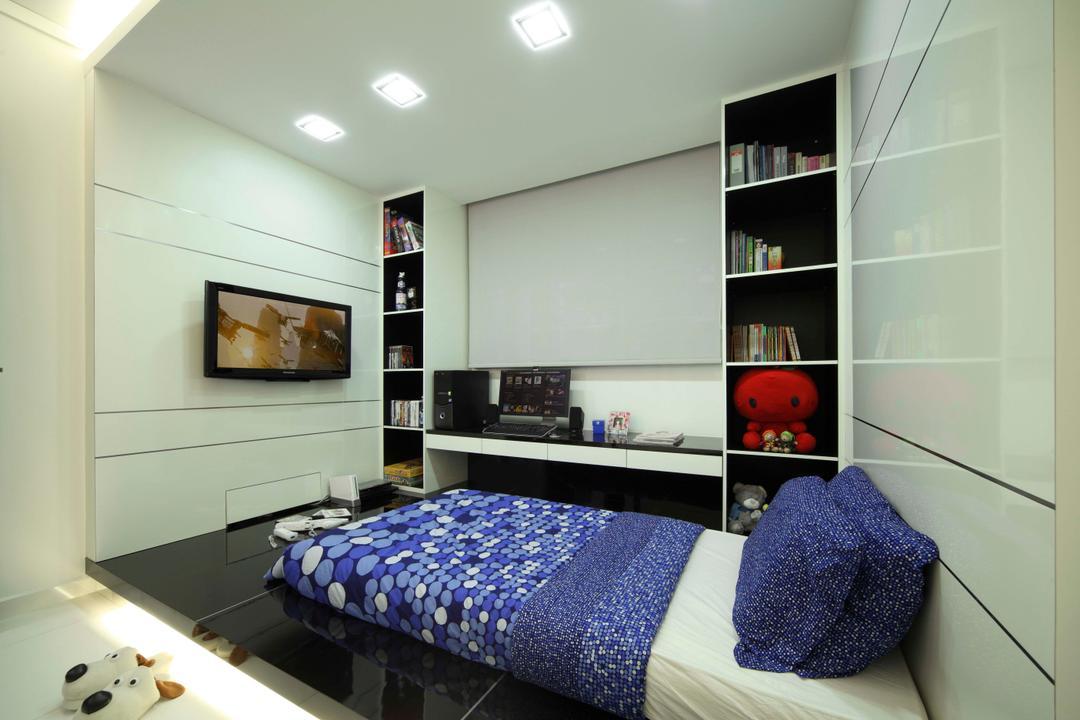 Bedok Reservoir Road (Block 147), Urban Design House, Modern, Bedroom, HDB, Shelves, Black Marble Floor, Recessed Lightings, Blue Bed, Wall Mounted Television