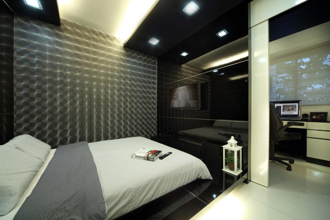 Bedok Reservoir Road (Block 147), Urban Design House, Modern, Bedroom, HDB, Study Area, Recessed Lights, King Size Bed, Cozy, Wall Mounted Television, Marble Tiles, Patterned Wall Tiles, Roll Down Curtain, Marble Floor
