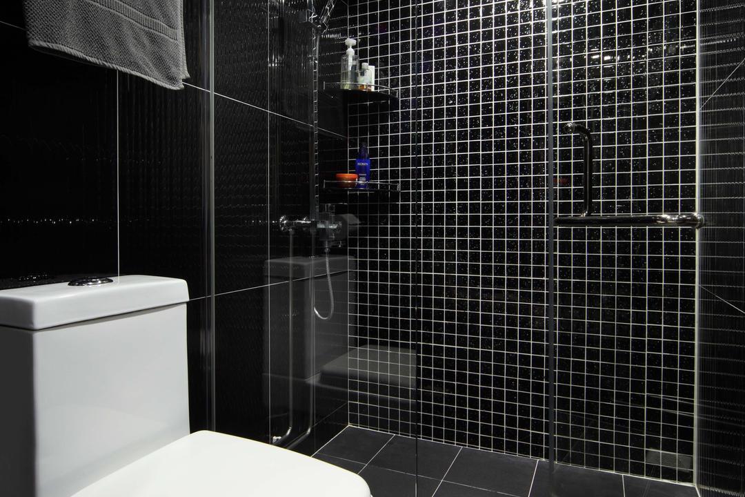 Bedok Reservoir Road (Block 147), Urban Design House, Modern, Bathroom, HDB, Marble Floor Tiles, Recessed Lightings, Toilet, Marble Mini Sqaure Tiled Wall