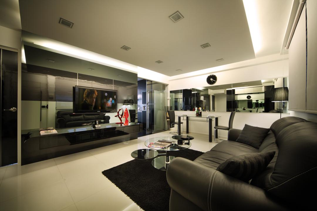 Bedok Reservoir Road (Block 147), Urban Design House, Modern, Living Room, HDB, Black Sofa, Recessed Lightings, Wall Mounted Television, Television Console, Black Glass Panel, Wall Mounted Black Clock, Mini Round Glass Table, Spacious, Cozy, Monohrome, Hidden Interior Lighting, , Classy