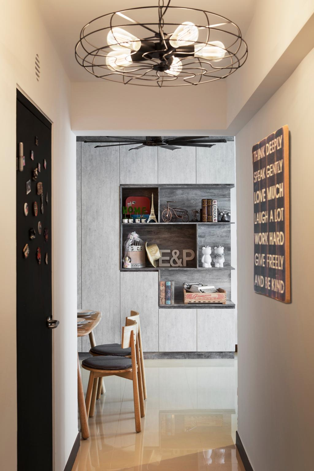 Scandinavian, HDB, Living Room, Punggol Drive (Block 678B), Interior Designer, Urban Design House, Marble Floor, Built In Shelves, , Wall Hanging Lights