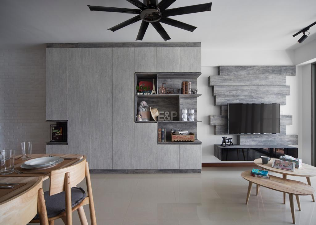 Scandinavian, HDB, Living Room, Punggol Drive (Block 678B), Interior Designer, Urban Design House, Ceiling Fan, Wooden Dining Table, Wooden Dining Chair, , Shevles, Spacious