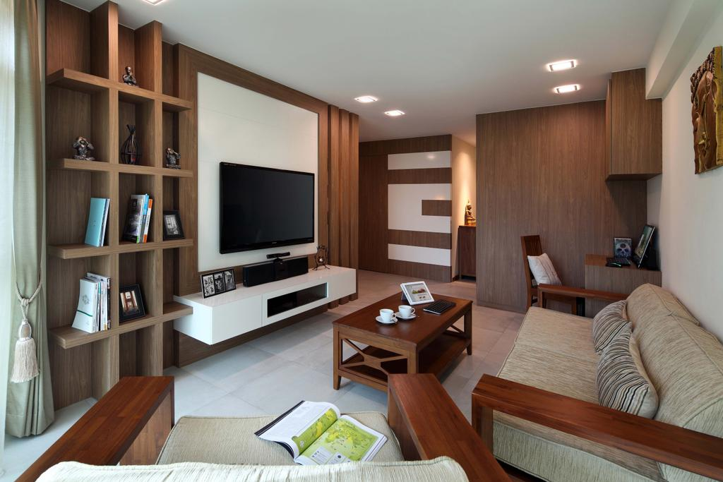 Traditional, HDB, Living Room, Punggol Field (Block 110A), Interior Designer, Urban Design House, Wall Mounted Television, Shelves, Wooden Wall, Floating Console, Study Area, Floor Mounted Wooden Table, Wooden Chair, Recessed Lights, Ceramic Floor Tiles, Sofa, Wooden Arm Rest, White Ceramic Tiles, Cozy, Cosy