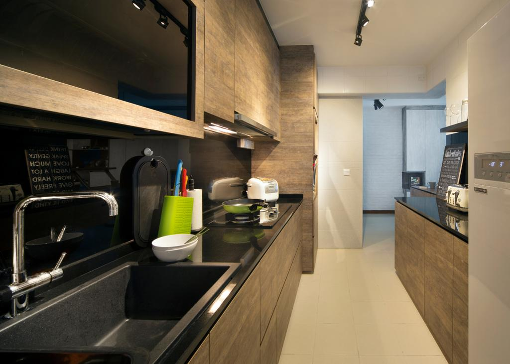 Scandinavian, HDB, Kitchen, Punggol Drive (Block 678B), Interior Designer, Urban Design House, Track Lights, Wooden Kitchen Cupboard, Black Marble Kitchen Tabletop, Wall Mounted Kitchen Cupboard, Cermaic Tiles