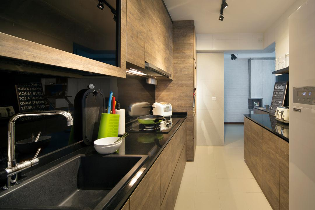 Punggol Drive (Block 678B), Urban Design House, Scandinavian, Kitchen, HDB, Track Lights, Wooden Kitchen Cupboard, Black Marble Kitchen Tabletop, Wall Mounted Kitchen Cupboard, Cermaic Tiles