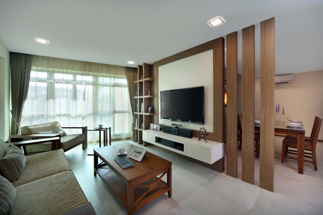Punggol Field (Block 110A), Urban Design House, Traditional, Living Room, HDB, Sling Curtains