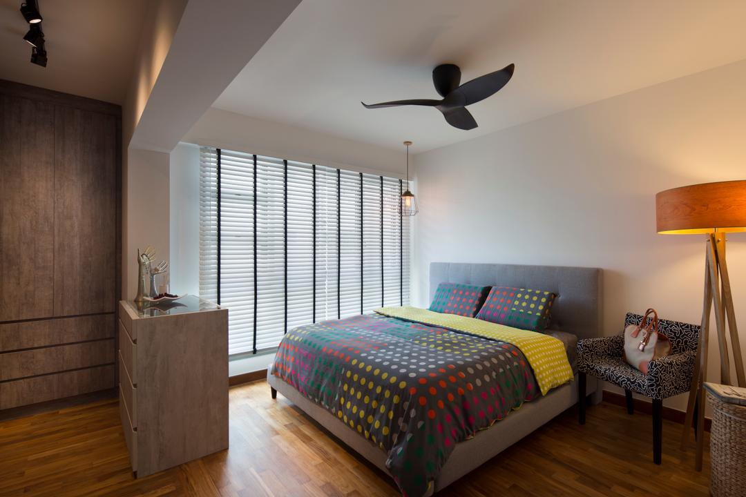 Punggol Drive (Block 678B), Urban Design House, Scandinavian, Bedroom, HDB, Haiku Fan, King Size Bed, Roll Down Curtain, Wooden Floor, Standing Lamp, Wall Hanging Mini Light, Bedroom Chair, Cozy, Cosy, Track Lights