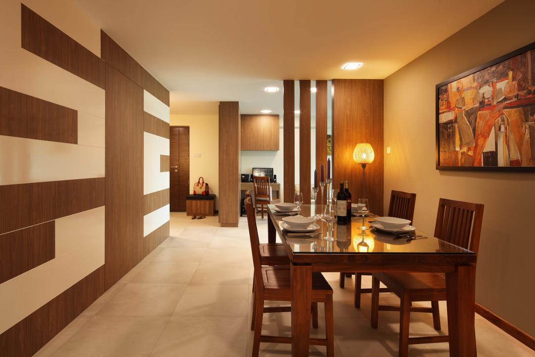 Punggol Field (Block 110A), Urban Design House, Traditional, Dining Room, HDB, Ceramic Floor, Wooden Dining Table, Wooden Dining Chair, Picture Frame, Recessed Light, Standing Lamp