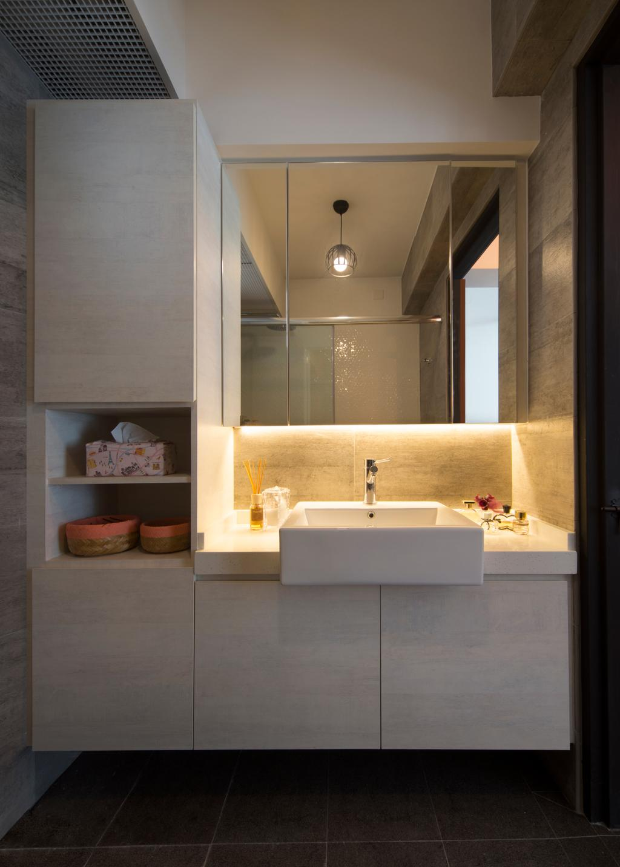 Scandinavian, HDB, Bathroom, Punggol Drive (Block 678B), Interior Designer, Urban Design House, Mirror, White Cabinet, Hidden Interior Lighting