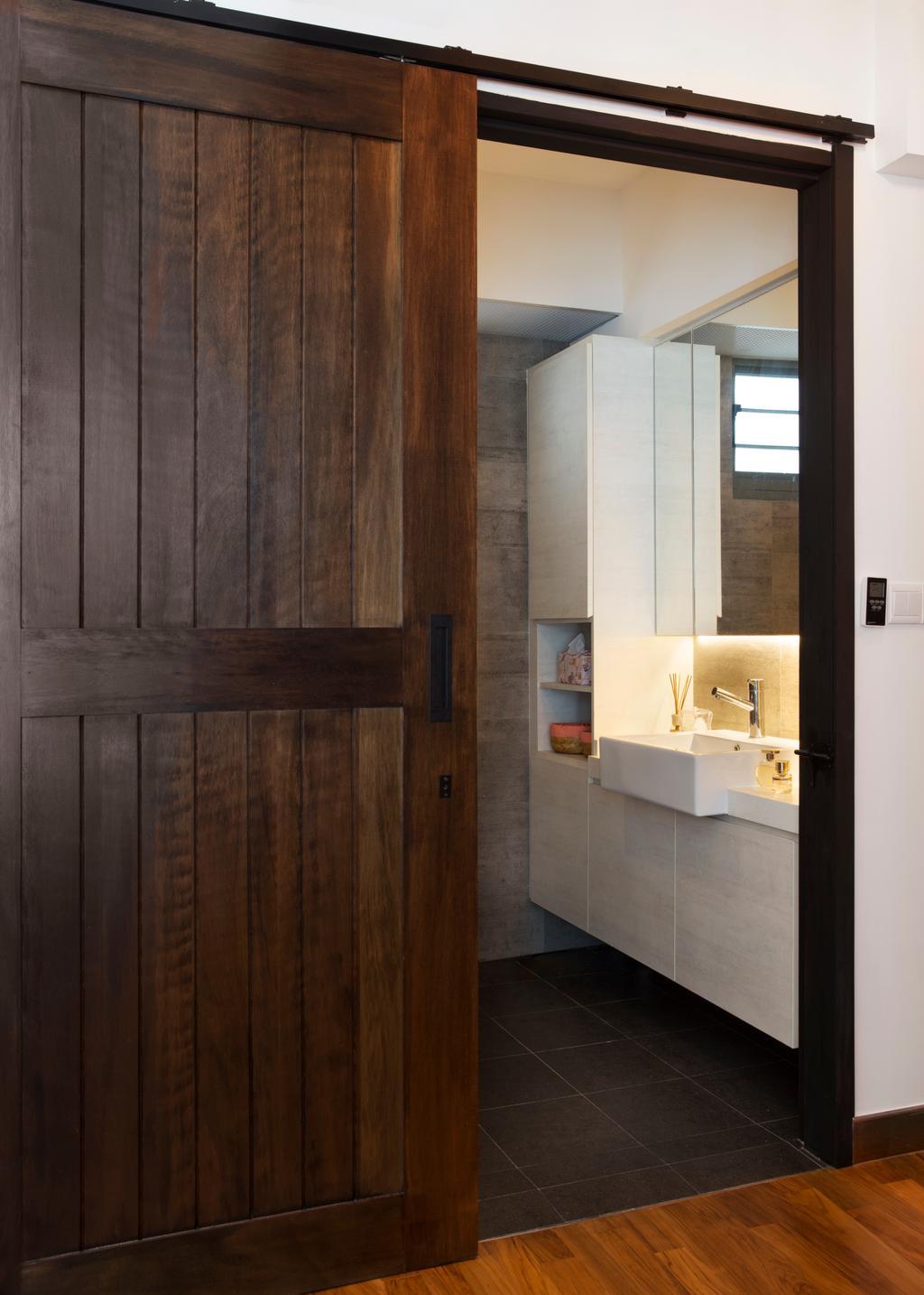Scandinavian, HDB, Bathroom, Punggol Drive (Block 678B), Interior Designer, Urban Design House, Wooden Sliding Door