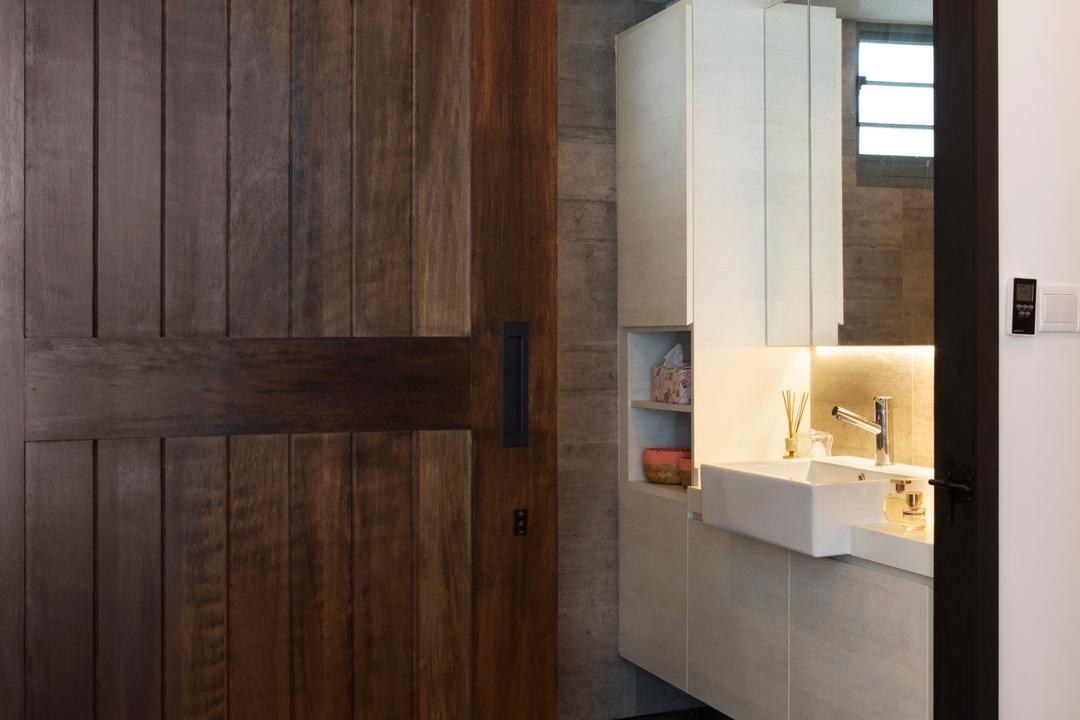 Punggol Drive (Block 678B), Urban Design House, Scandinavian, Bathroom, HDB, Wooden Sliding Door