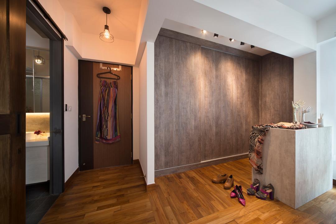 Punggol Drive (Block 678B), Urban Design House, Scandinavian, Bedroom, HDB, Wooden Floor, Track Lights, Wooden Walls, Wall Hanging Lighs, Floor Mounted Cabinet