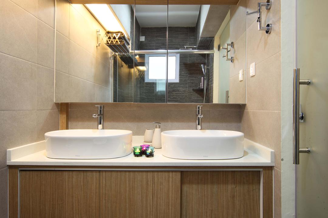 Punggol Field (Block 110A), Urban Design House, Traditional, Bathroom, HDB, Mirror, Wooden Toilet Cabient, Sliding Cabinet Door, Ceramic Basins, Wall Mounted Lights