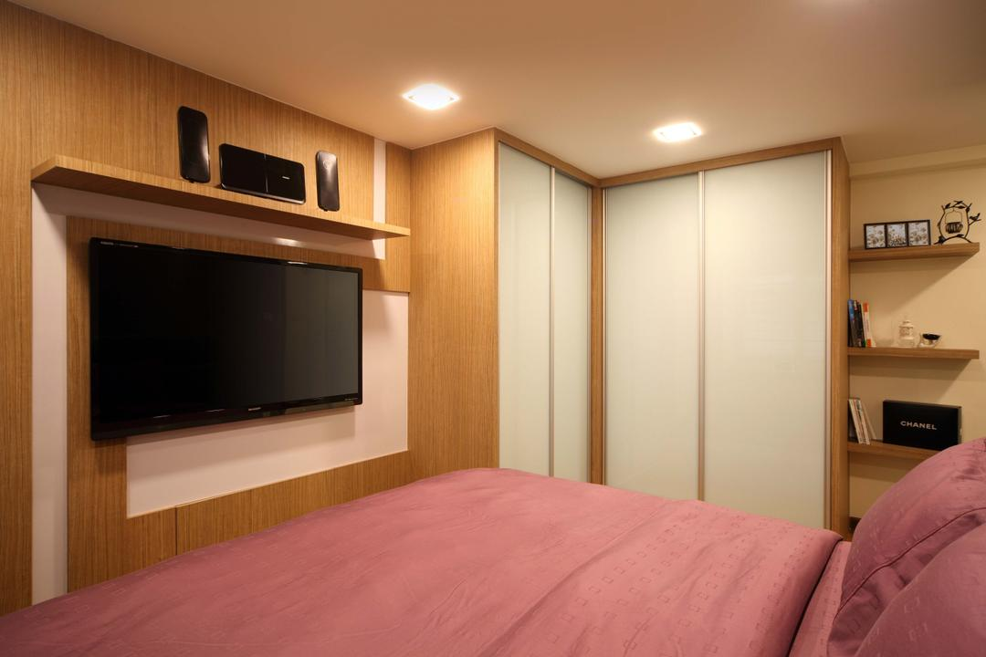 Punggol Field (Block 110A), Urban Design House, Traditional, Bedroom, HDB, Wall Mounted Television, Wooden Wall, Recessed Lightings, Bedroom Wadrobe, Wall Mounted Shelves, Cozy, King Size Bed