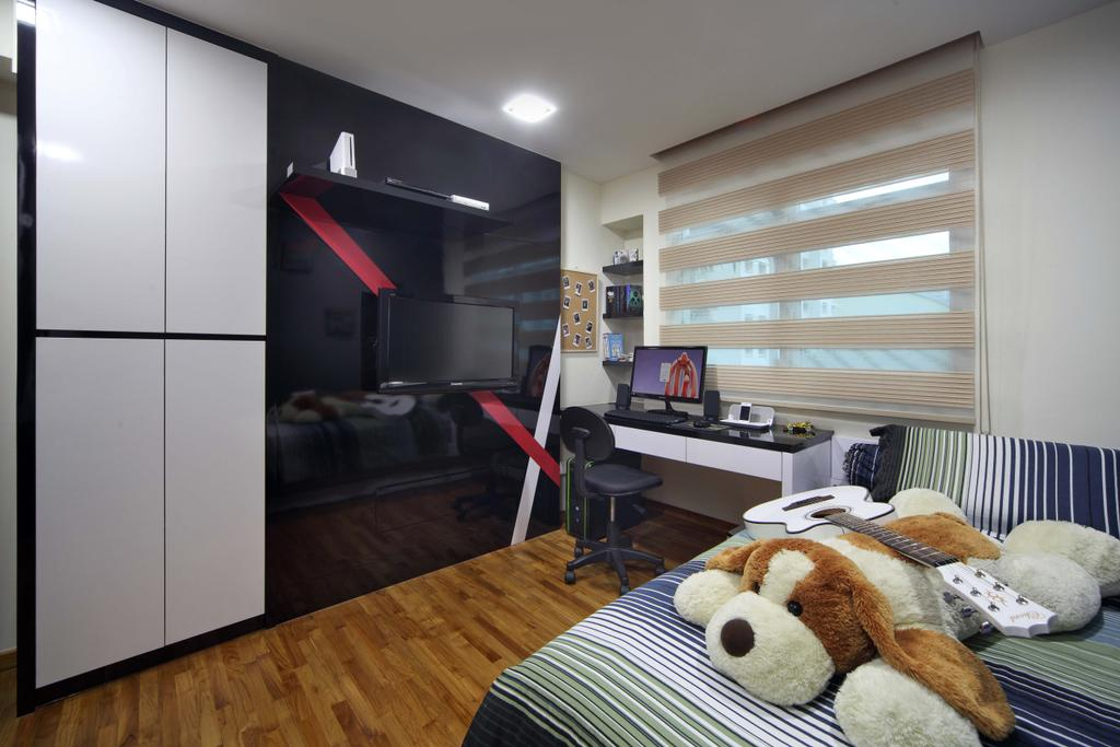 Traditional, HDB, Bedroom, Punggol Field (Block 110A), Interior Designer, Urban Design House, Wooden Floor, Bed, Study Area, Low Back Study Chair, Study Table, Roll Down Curtain, Wooden Panels, Wall Mouted Shelf, White Cabinet, Black Glass Wall Panel, Cozy