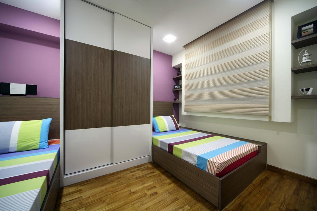 Punggol Field (Block 110A), Urban Design House, Traditional, Bedroom, HDB, Wooden Floor, Two Beds, Recessed Lighting, Wall Mounted Shelves, Purple Wall, Rectangular Wooden Panels