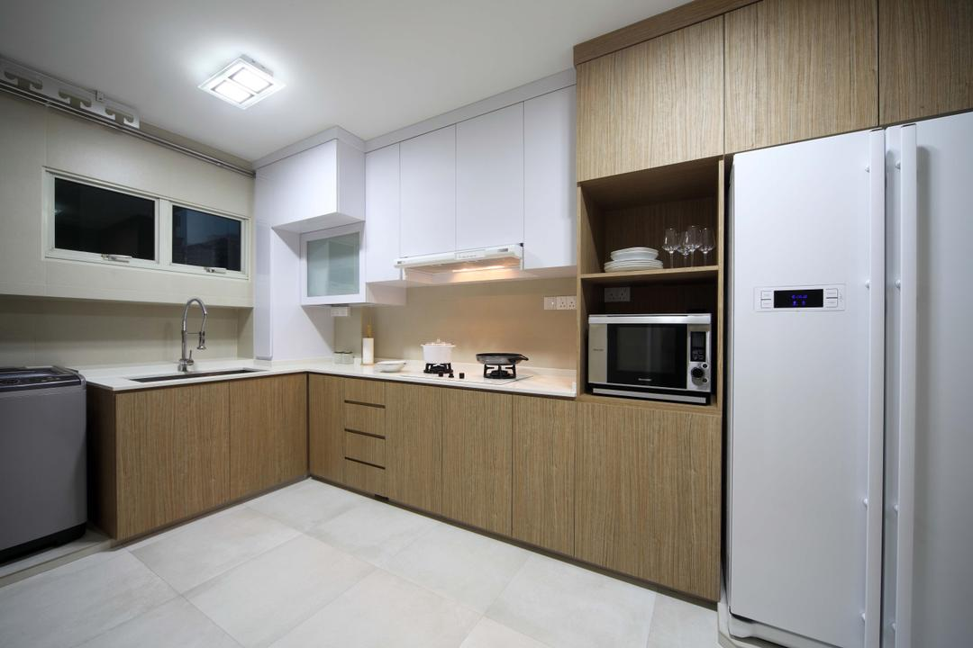 Punggol Field (Block 110A), Urban Design House, Traditional, Kitchen, HDB, Wall Mounted Lights, Wooden Kitchen Cupboard, Refrigerator, , Oven, Ceramic Cupboard, White Ceramic Tiles