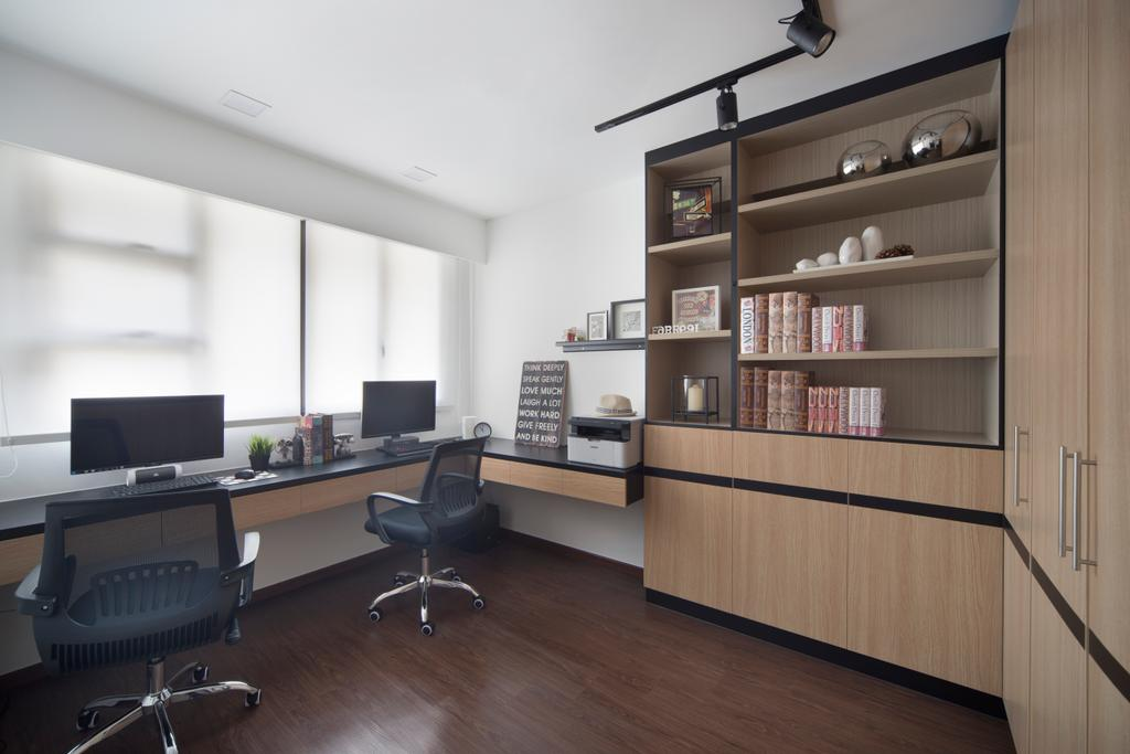 Contemporary, HDB, Study, Compassvale Crescent (Block 293D), Interior Designer, Urban Design House, Wooden Floor, High Back Study Chair, Wooden Cabient, Wall Mounted Wooden Table, Roll Down Curtains