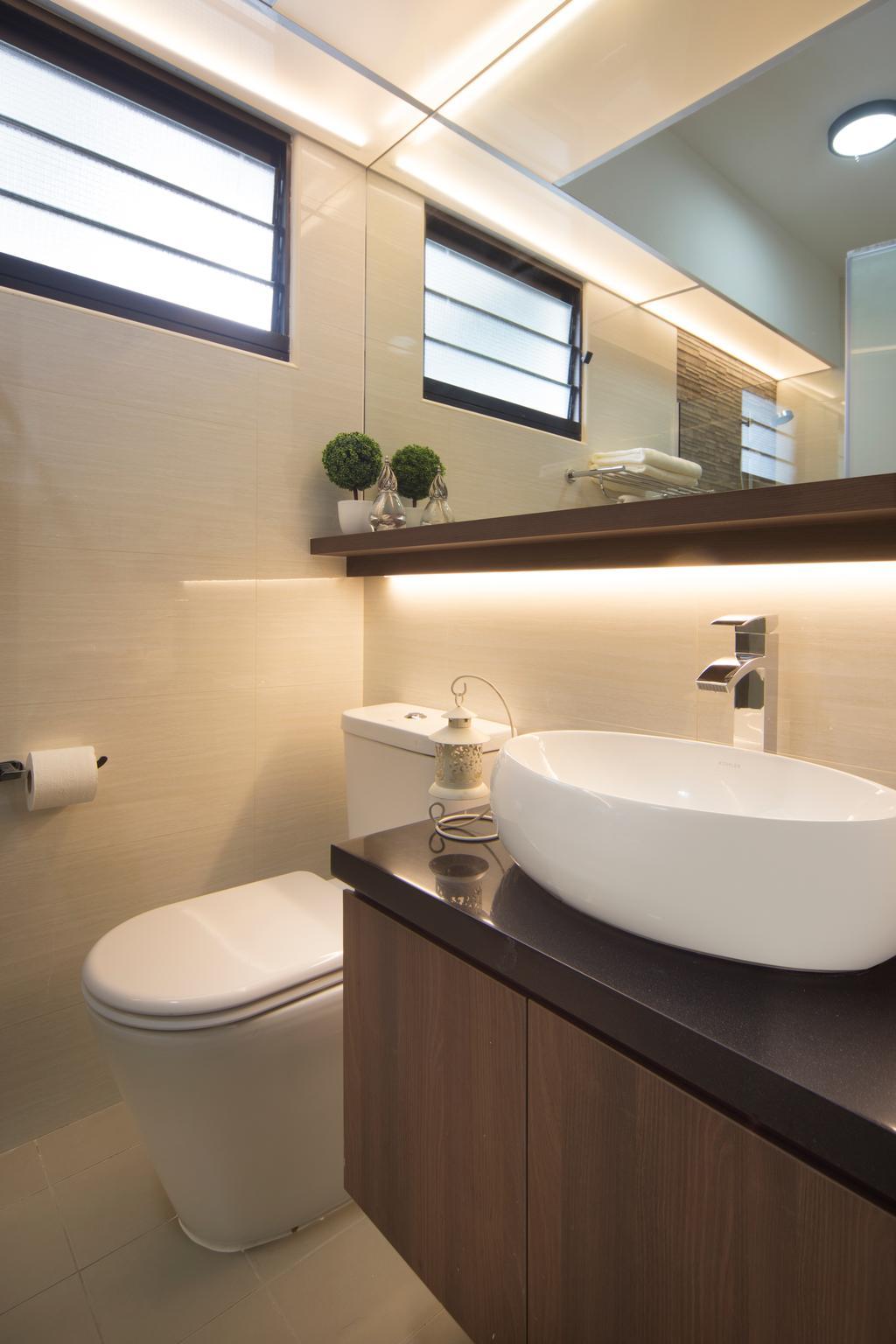 Contemporary, HDB, Bathroom, Compassvale Crescent (Block 293D), Interior Designer, Urban Design House, Toilet, Sink, Window Panel, Mirror, Toilet Cupboard, Ceramic Floor, Ceramic Wall